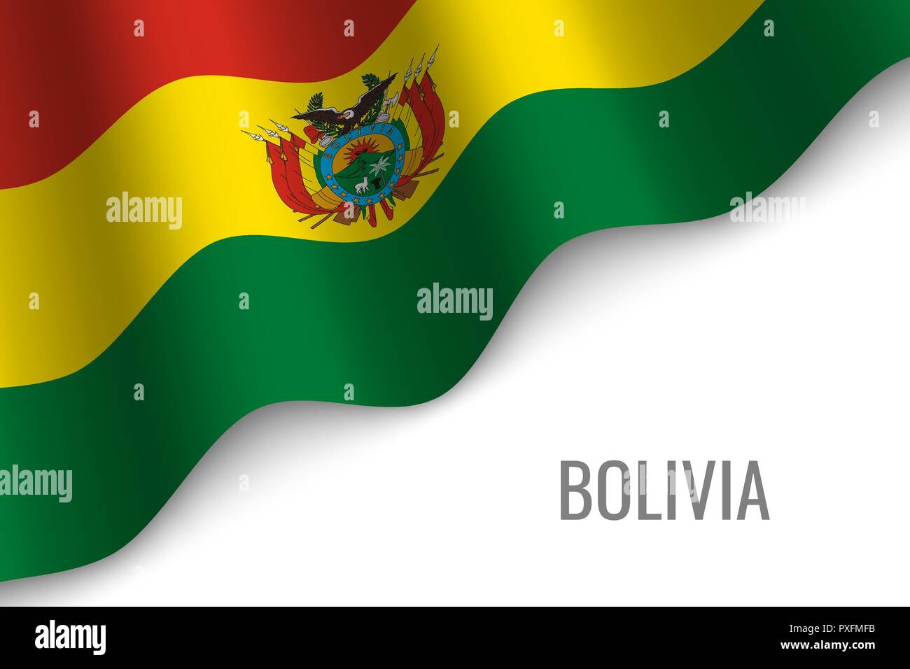 waving flag of Bolivia with copyspace. Template for brochure. vector illustration - Stock Vector