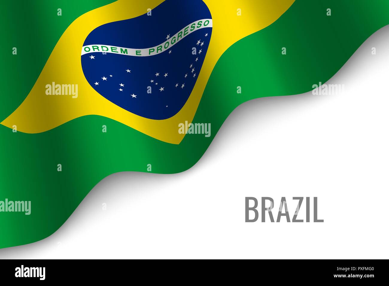 waving flag of Brazil with copyspace. Template for brochure. vector illustration - Stock Vector