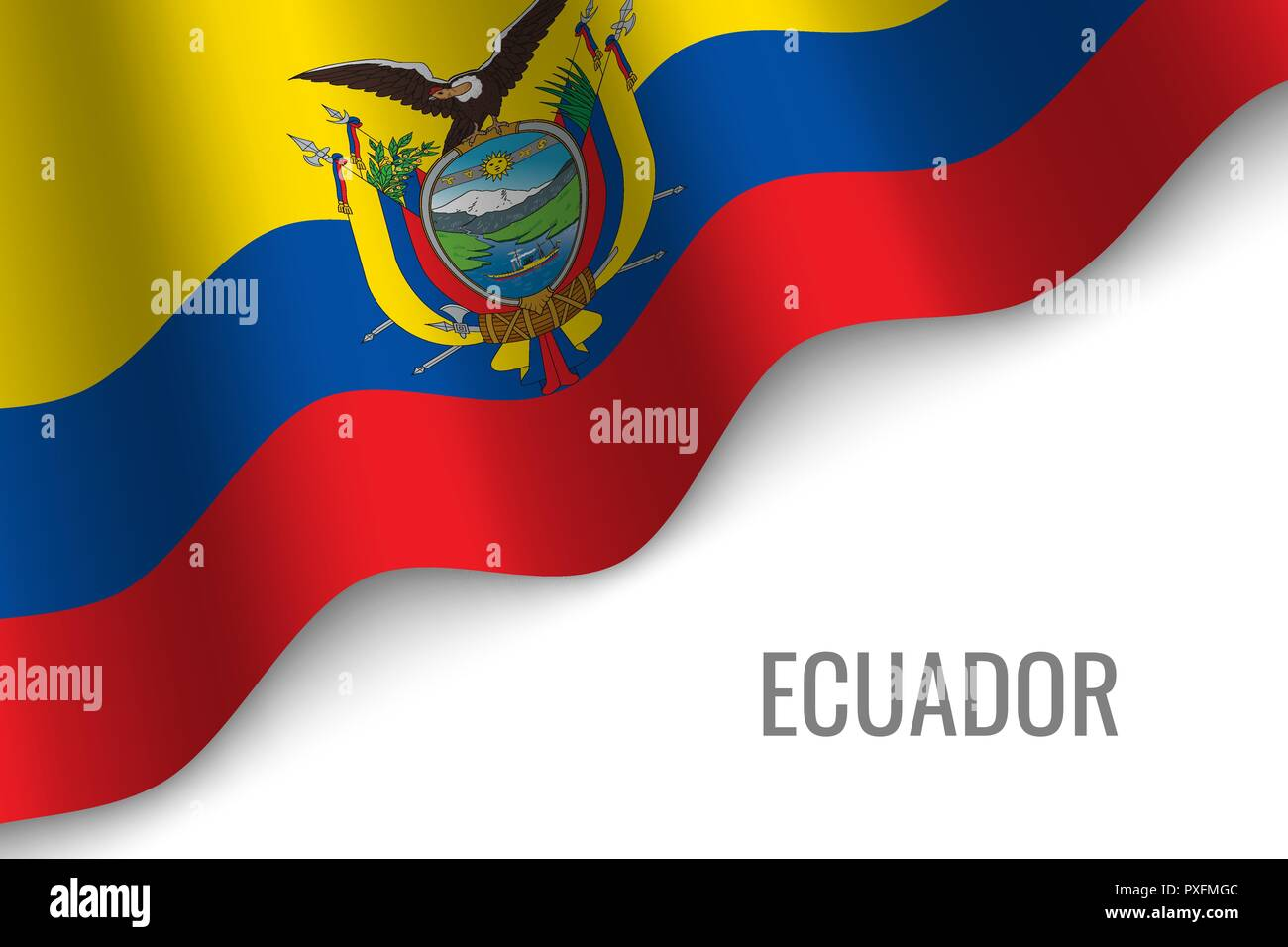 waving flag of Ecuador with copyspace. Template for brochure. vector illustration - Stock Vector