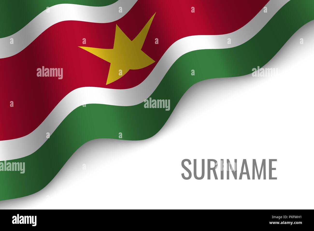 waving flag of Suriname with copyspace. Template for brochure. vector illustration - Stock Vector