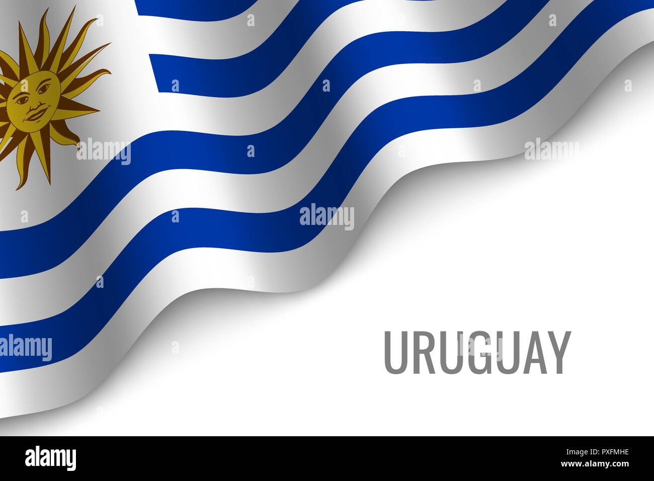 waving flag of Uruguay with copyspace. Template for brochure. vector illustration - Stock Vector