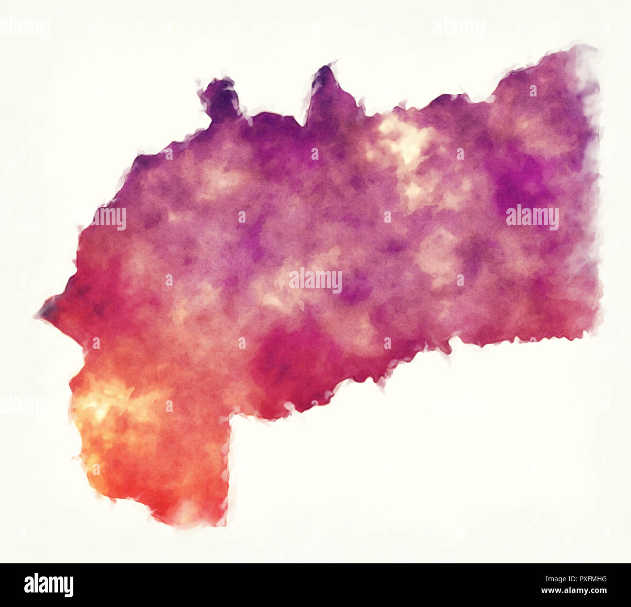 Meta department watercolor map of Colombia in front of a white background - Stock Image