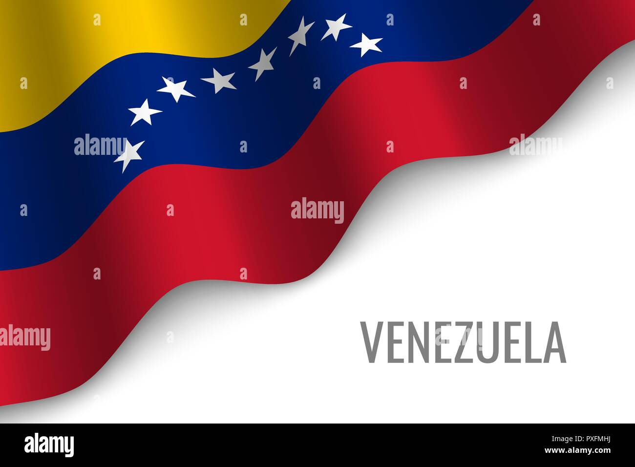 waving flag of Venezuela with copyspace. Template for brochure. vector illustration - Stock Vector