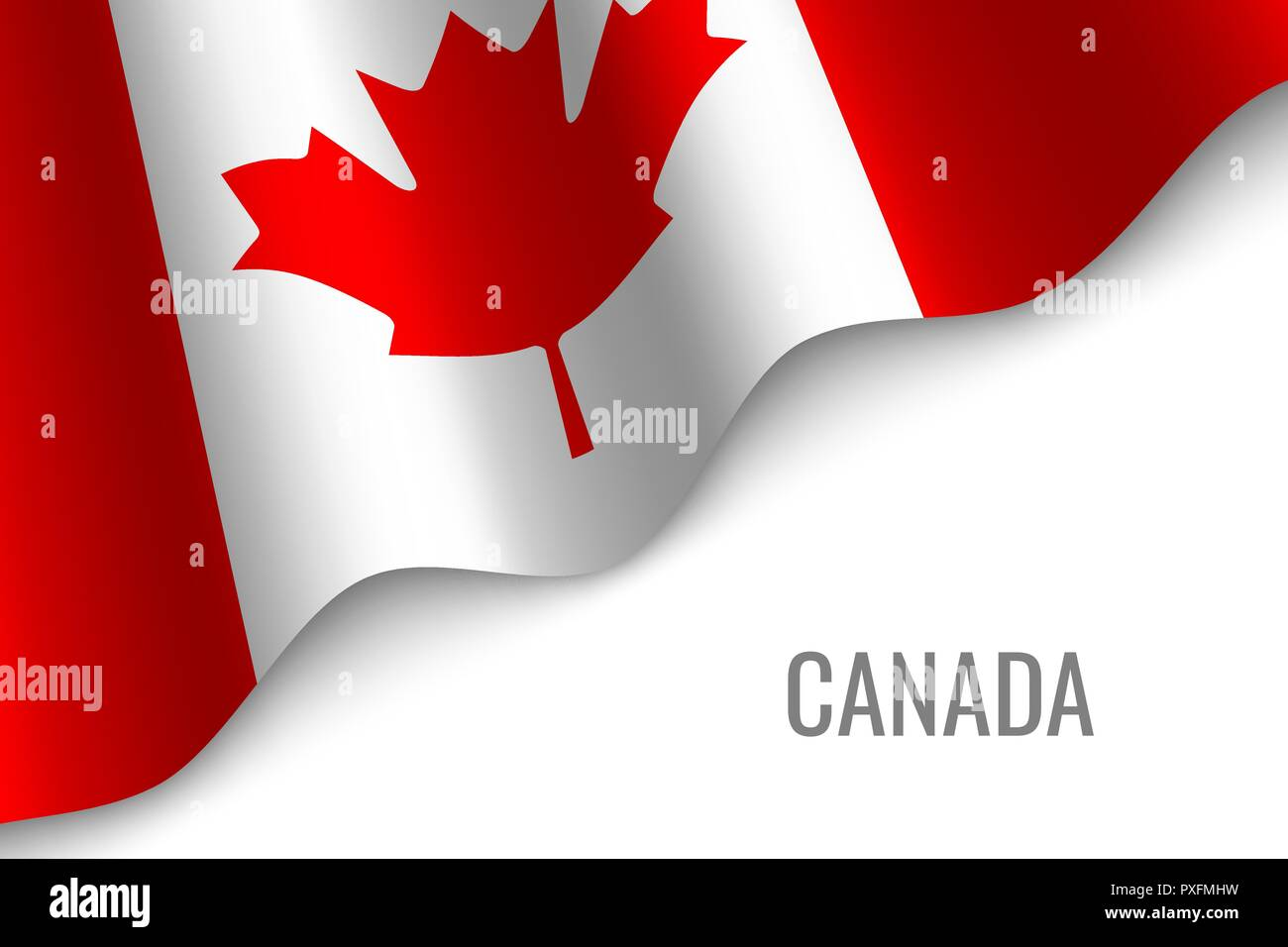 waving flag of Canada with copyspace. Template for brochure. vector illustration - Stock Vector