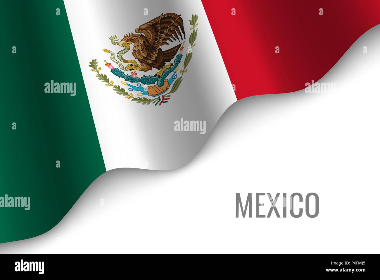 waving flag of Mexico with copyspace. Template for brochure. vector illustration - Stock Vector