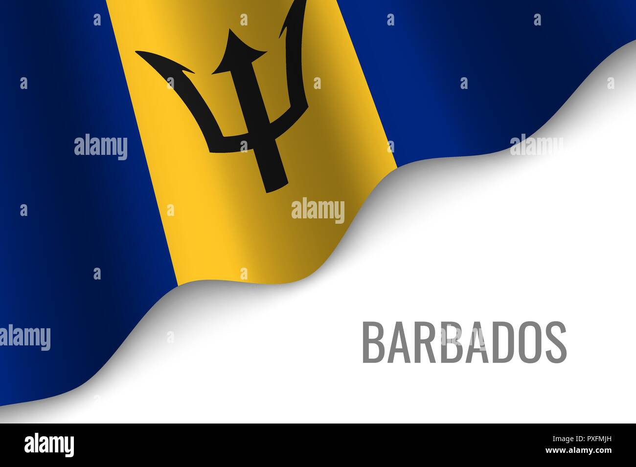 waving flag of Barbados with copyspace. Template for brochure. vector illustration - Stock Vector