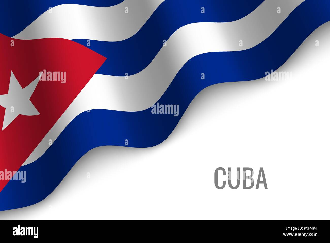 waving flag of Cuba with copyspace. Template for brochure. vector illustration - Stock Vector