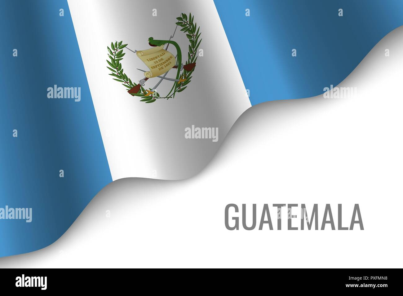 waving flag of Guatemala with copyspace. Template for brochure. vector illustration - Stock Vector
