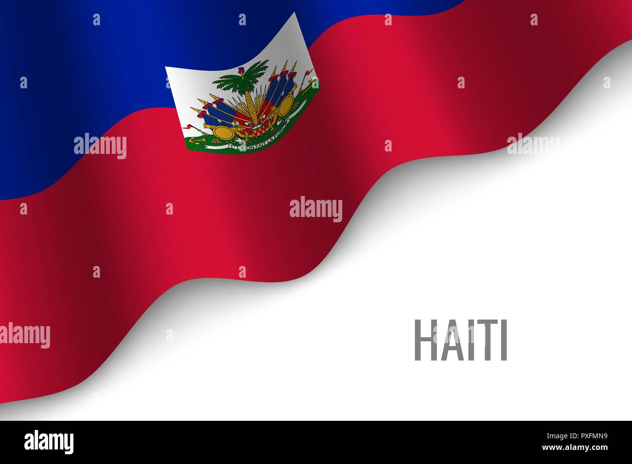 waving flag of Haiti with copyspace. Template for brochure. vector illustration - Stock Vector