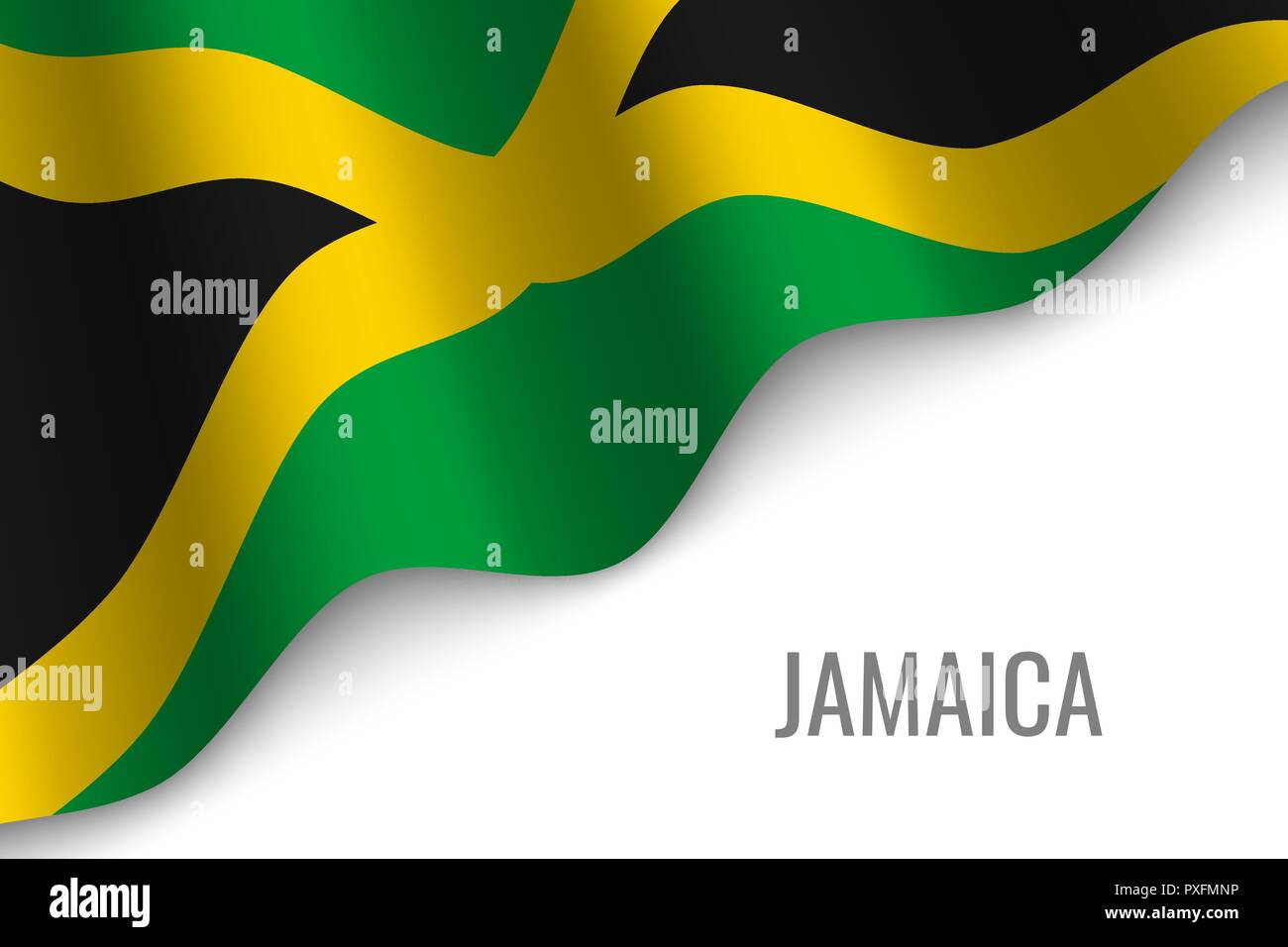 waving flag of Jamaica with copyspace. Template for brochure. vector illustration - Stock Vector