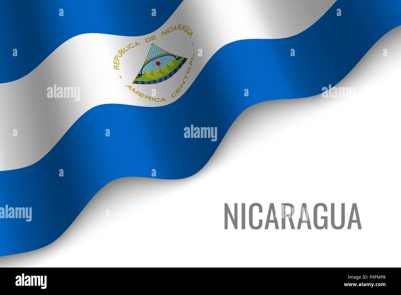 waving flag of Nicaragua with copyspace. Template for brochure. vector illustration - Stock Vector