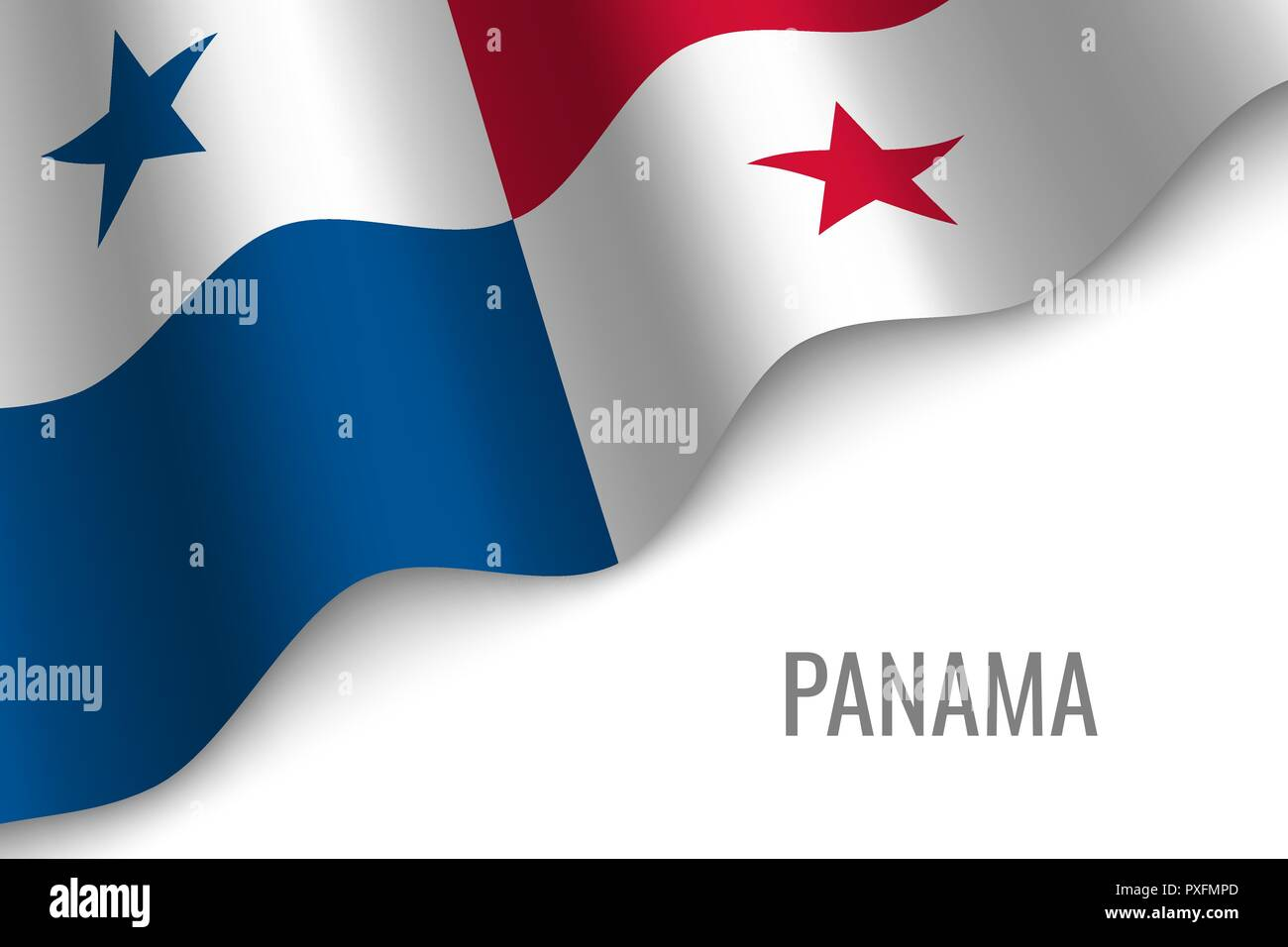 waving flag of Panama with copyspace. Template for brochure. vector illustration - Stock Vector