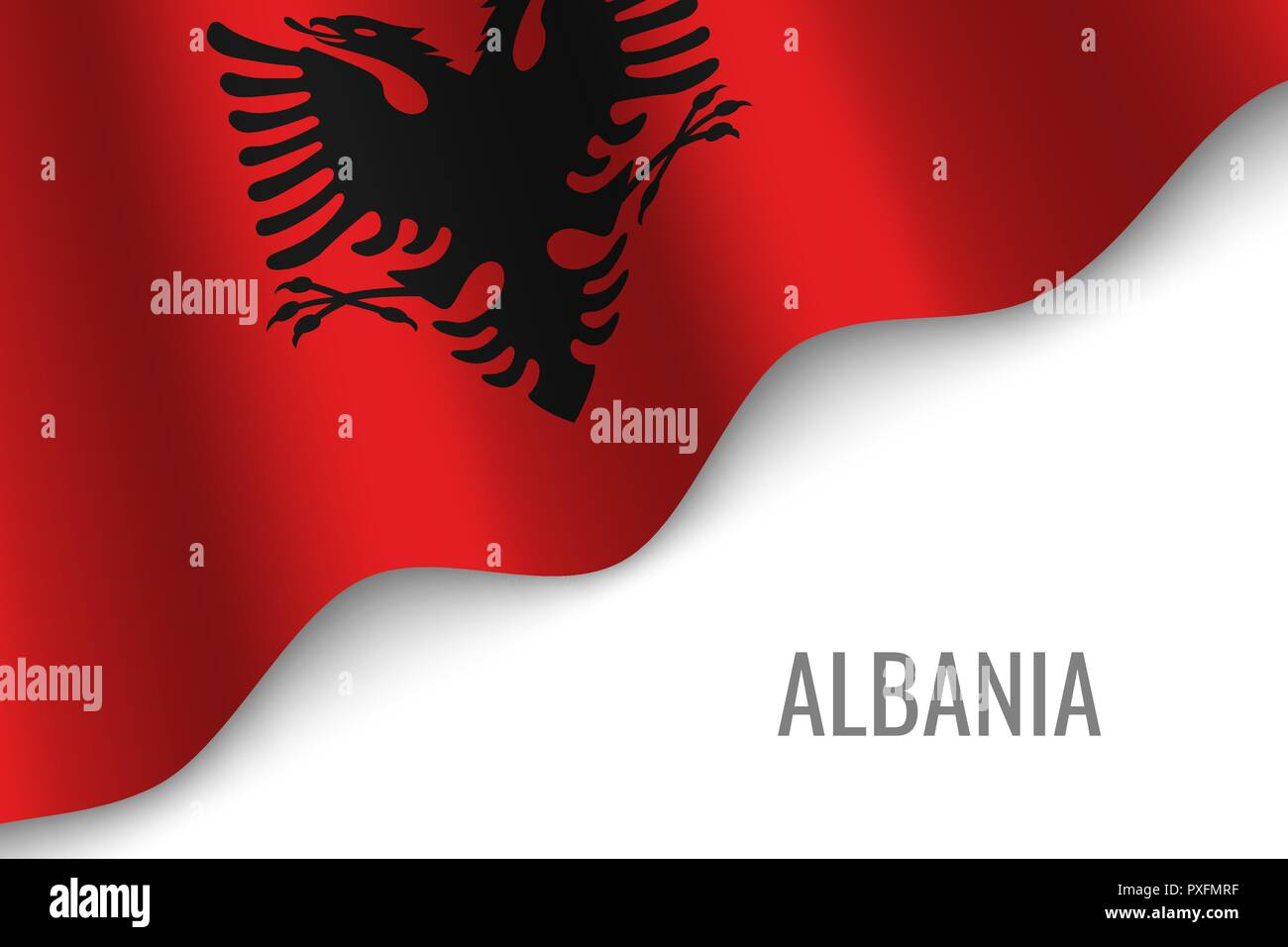 waving flag of Albania with copyspace. Template for brochure. vector illustration - Stock Vector