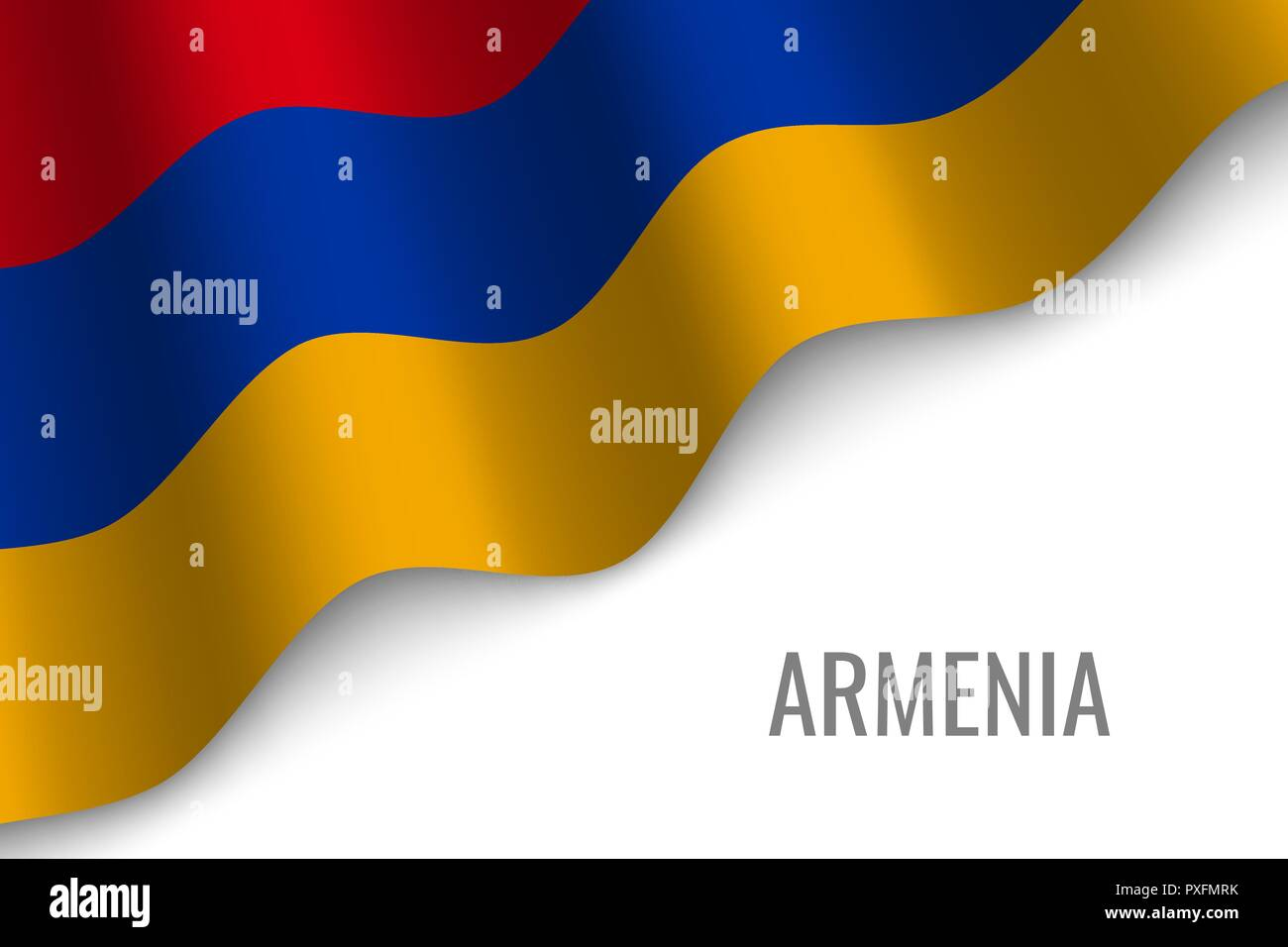 waving flag of Armenia with copyspace. Template for brochure. vector illustration - Stock Vector