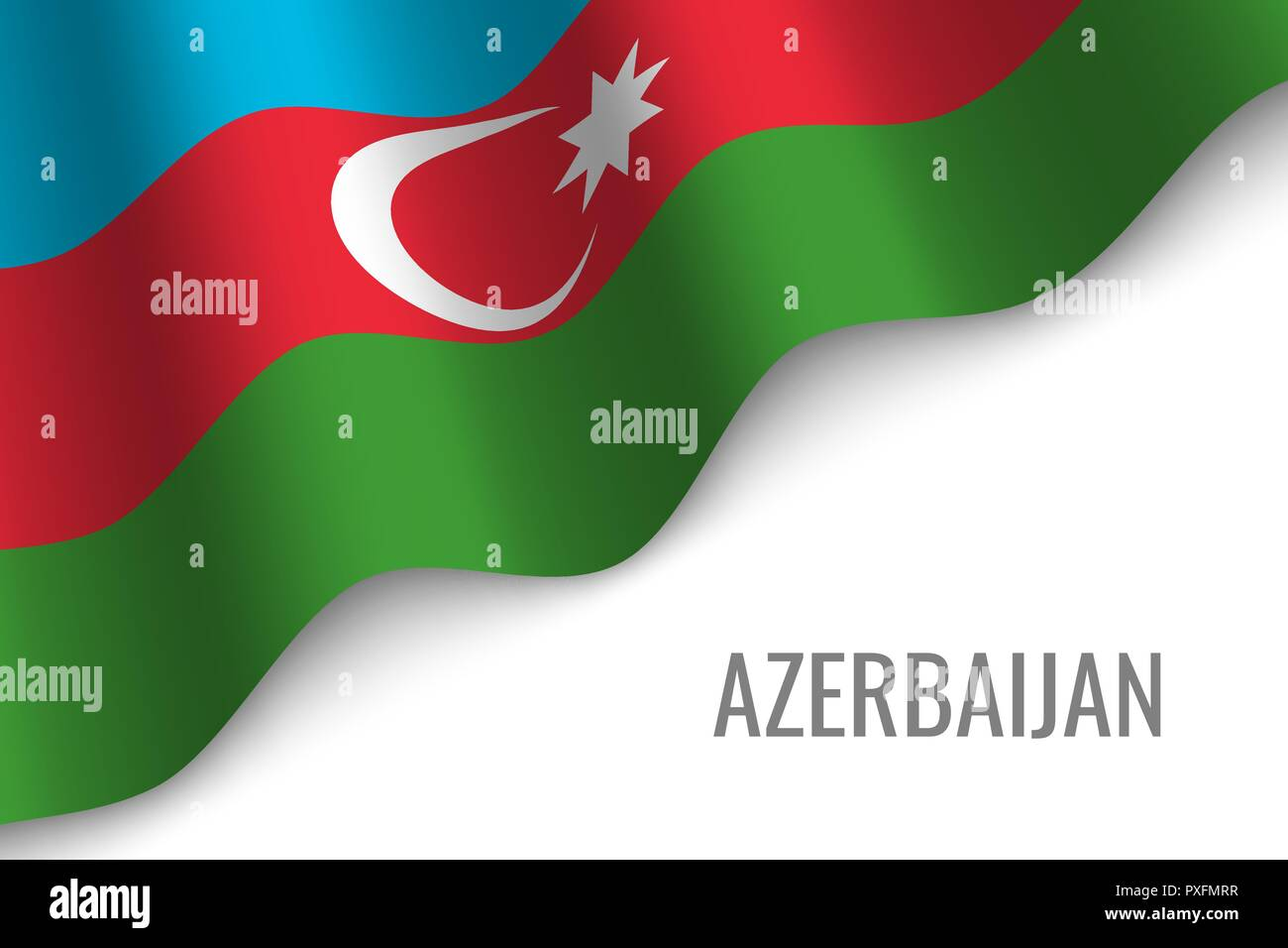 waving flag of Azerbaijan with copyspace. Template for brochure. vector illustration - Stock Vector