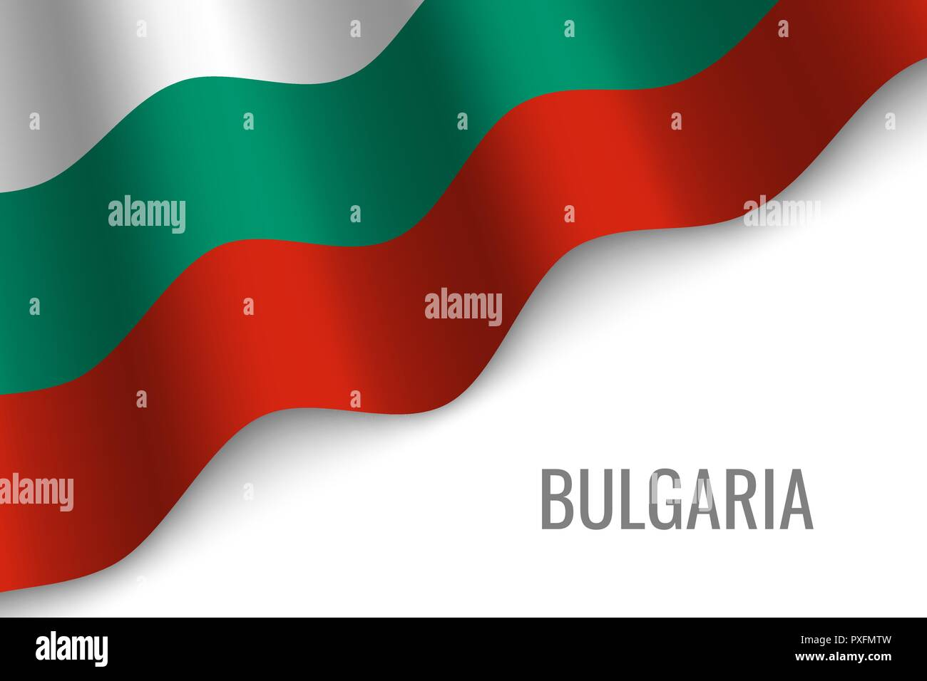 waving flag of Bulgaria with copyspace. Template for brochure. vector illustration Stock Vector
