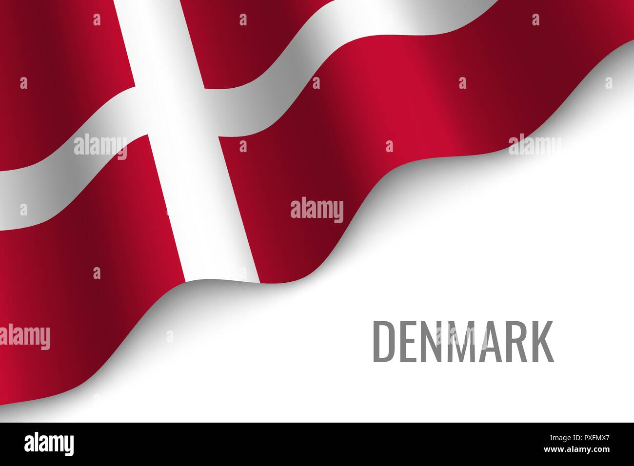 waving flag of Denmark with copyspace. Template for brochure. vector illustration - Stock Vector