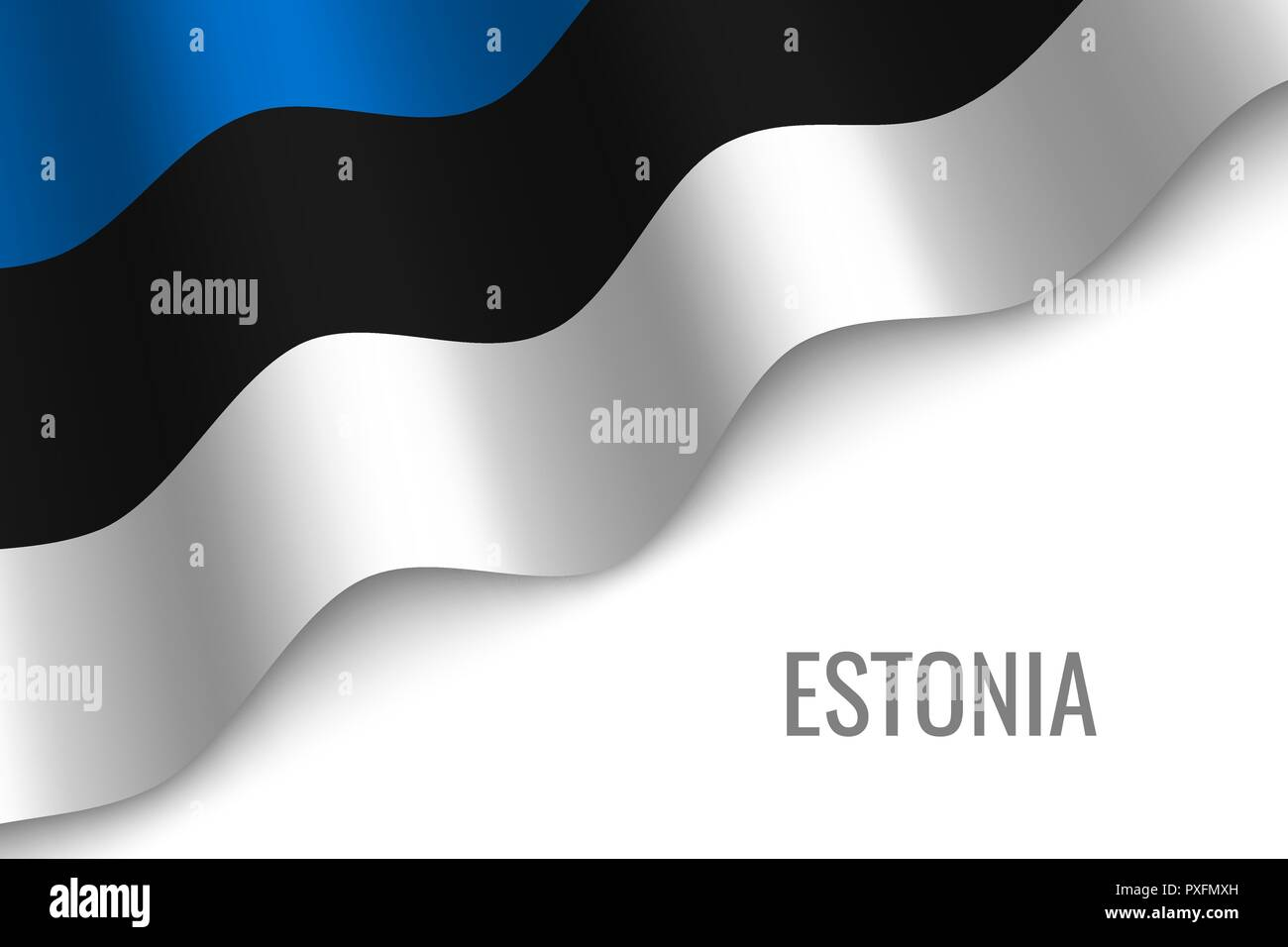waving flag of Estonia with copyspace. Template for brochure. vector illustration - Stock Vector