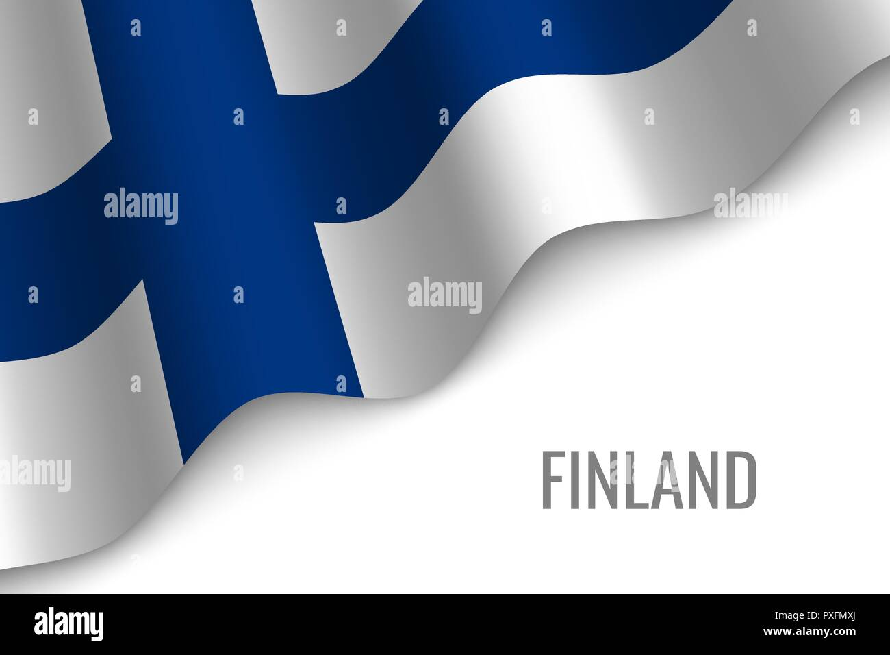 waving flag of Finland with copyspace. Template for brochure. vector illustration - Stock Vector