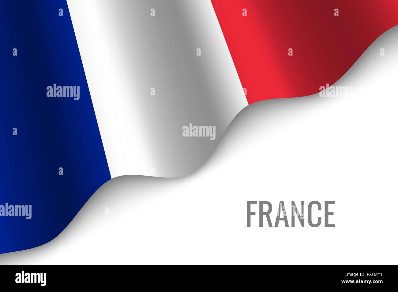waving flag of France with copyspace. Template for brochure. vector illustration - Stock Vector