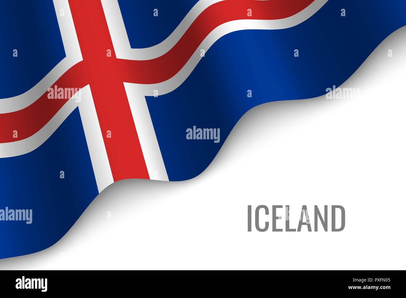 waving flag of Iceland with copyspace. Template for brochure. vector illustration - Stock Vector