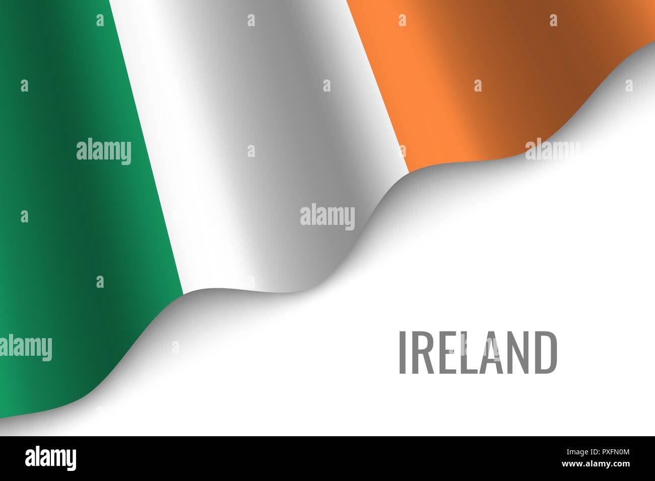 waving flag of Ireland with copyspace. Template for brochure. vector illustration - Stock Vector