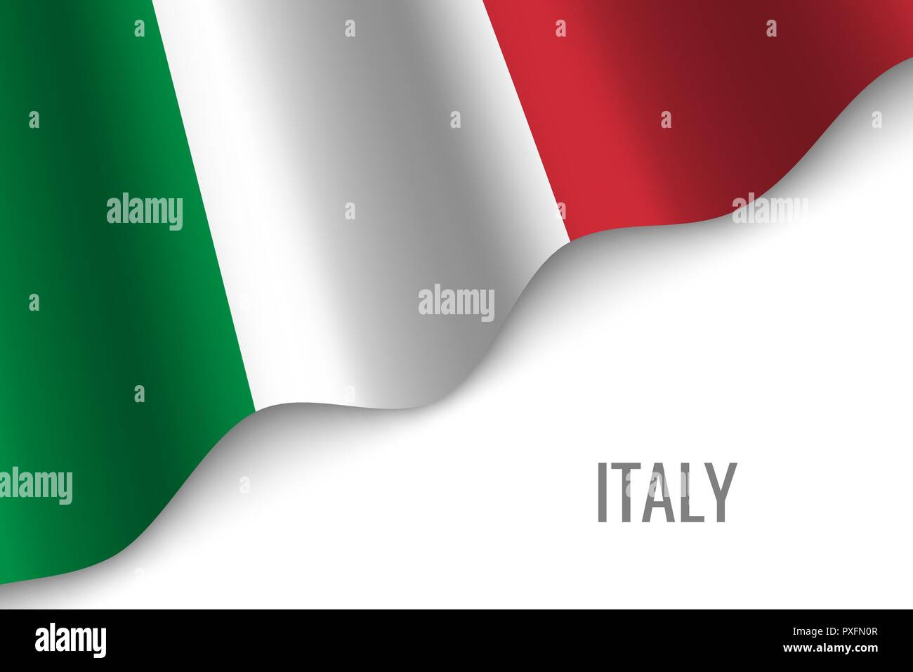 waving flag of Italy with copyspace. Template for brochure. vector illustration - Stock Vector