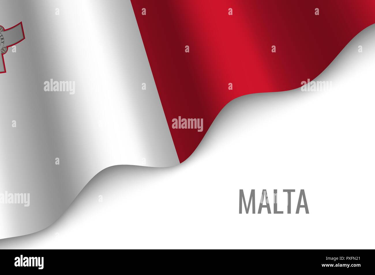 waving flag of Malta with copyspace. Template for brochure. vector illustration Stock Vector