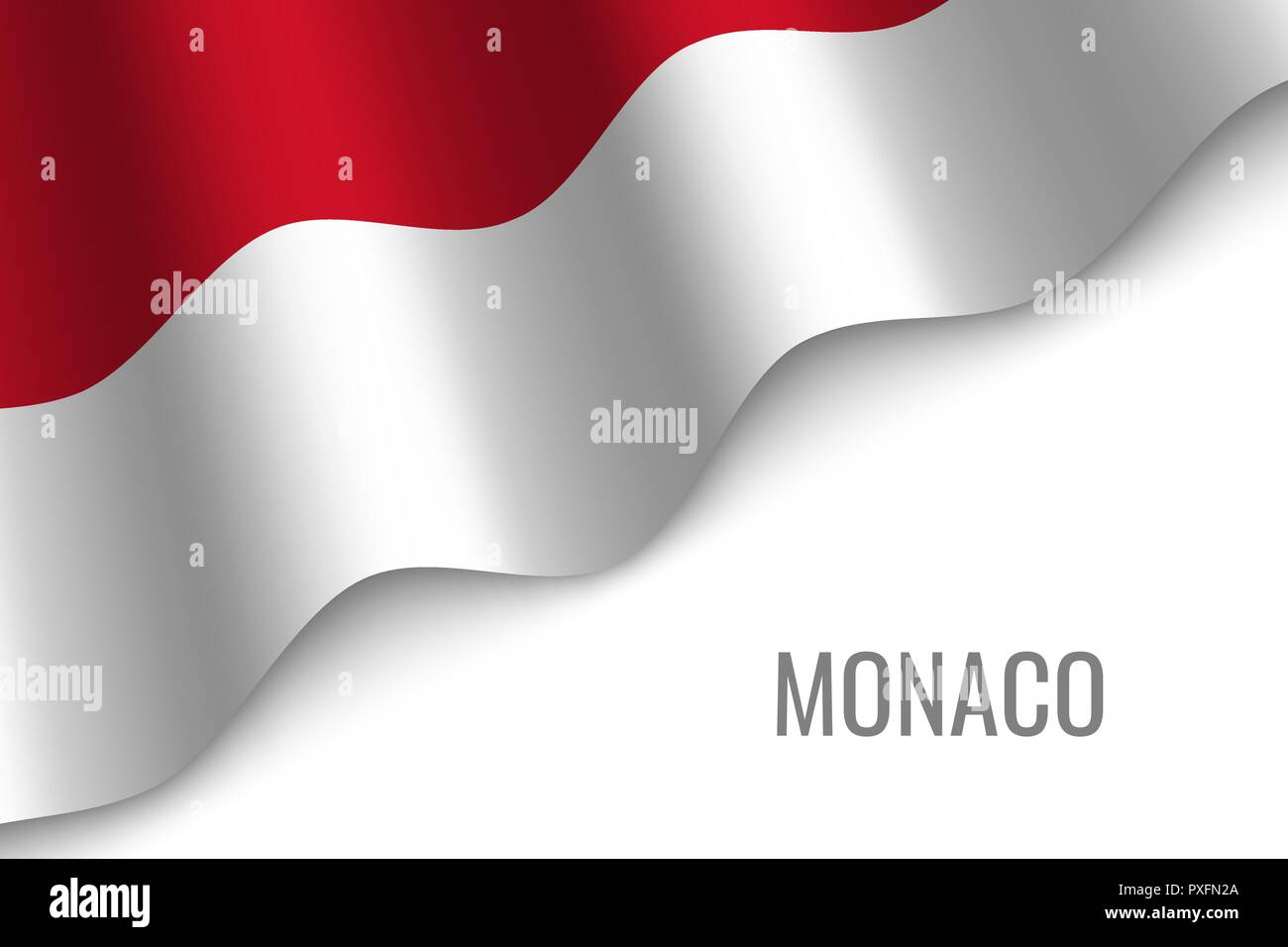waving flag of Monaco with copyspace. Template for brochure. vector illustration - Stock Vector