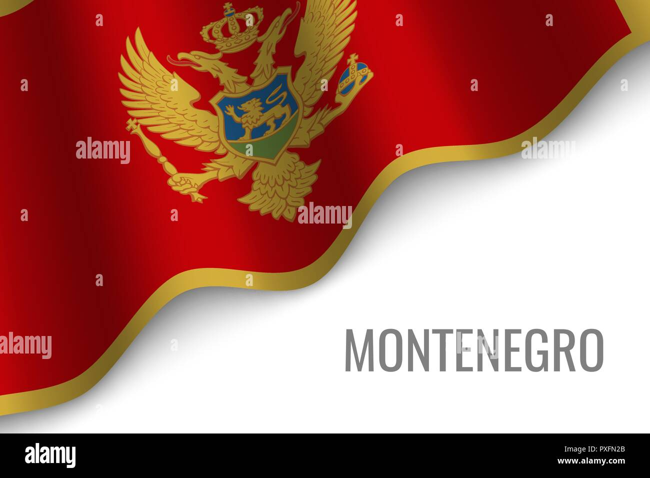 waving flag of Montenegro with copyspace. Template for brochure. vector illustration - Stock Vector