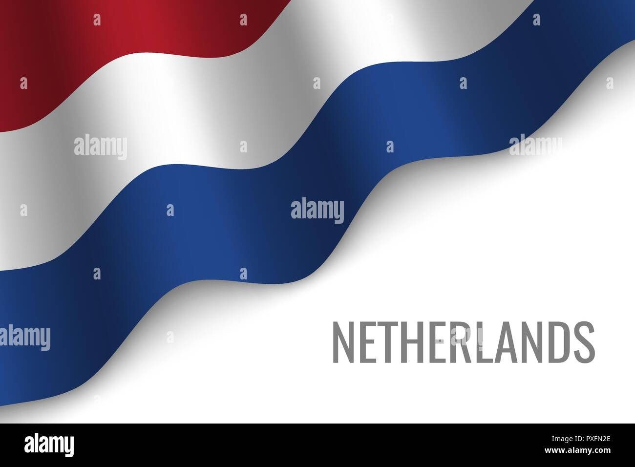 waving flag of Netherlands with copyspace. Template for brochure. vector illustration - Stock Vector