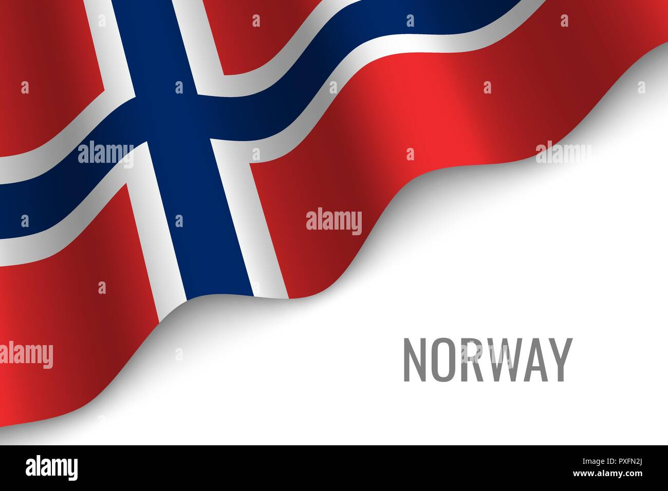 waving flag of Norway with copyspace. Template for brochure. vector illustration - Stock Vector