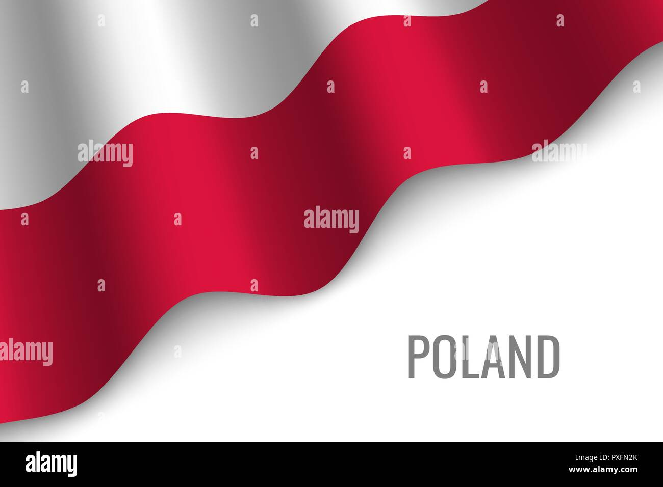 waving flag of Poland with copyspace. Template for brochure. vector illustration - Stock Vector