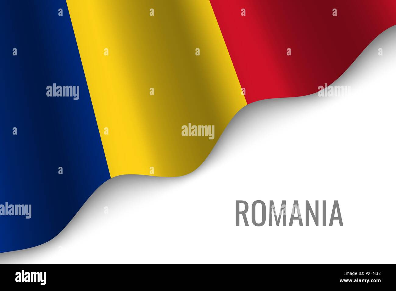 waving flag of Romania with copyspace. Template for brochure. vector illustration - Stock Vector