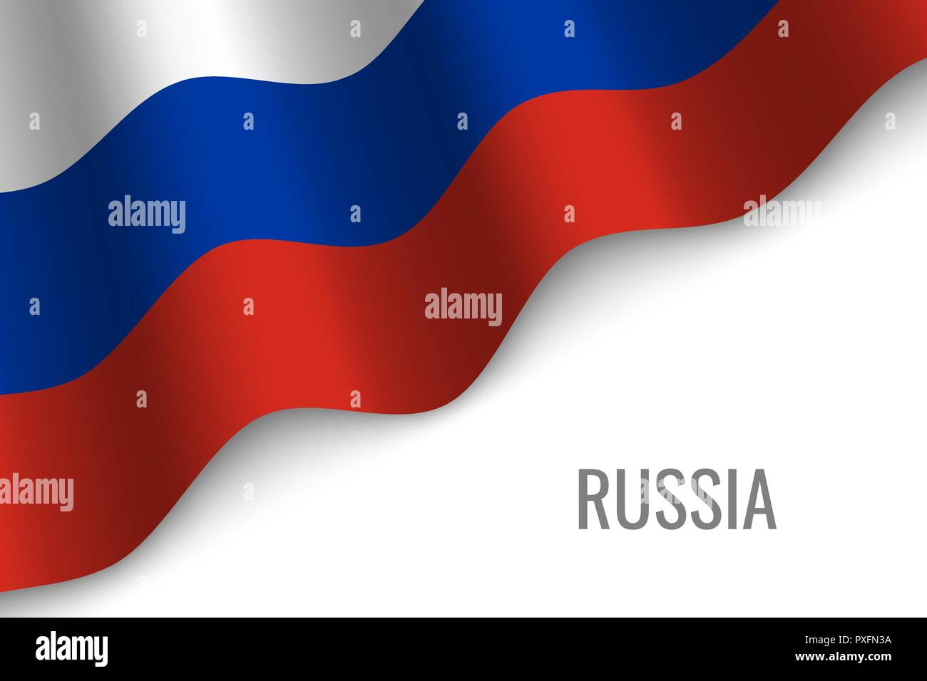 waving flag of Russia with copyspace. Template for brochure. vector illustration - Stock Vector