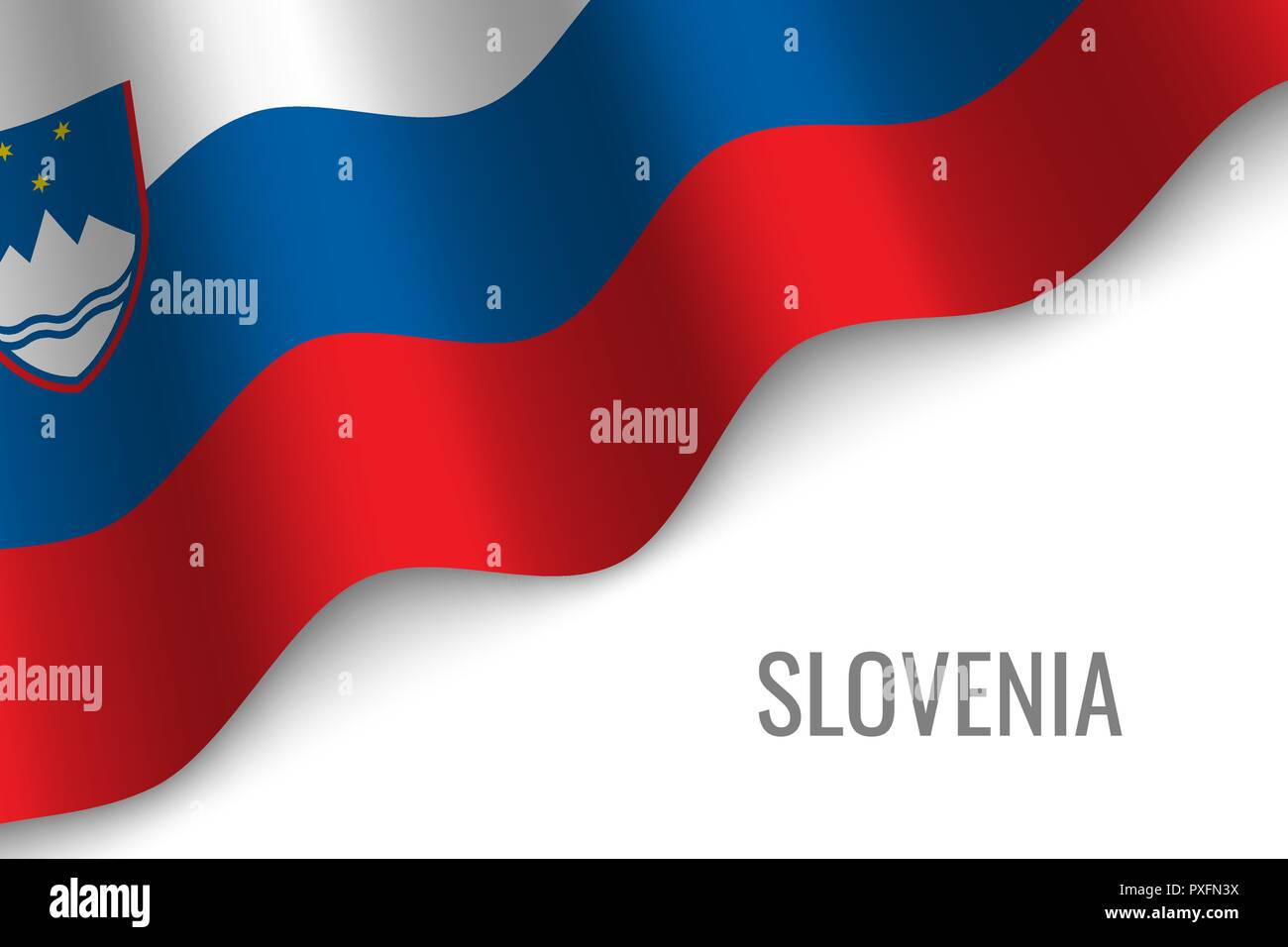 waving flag of Slovenia with copyspace. Template for brochure. vector illustration - Stock Vector