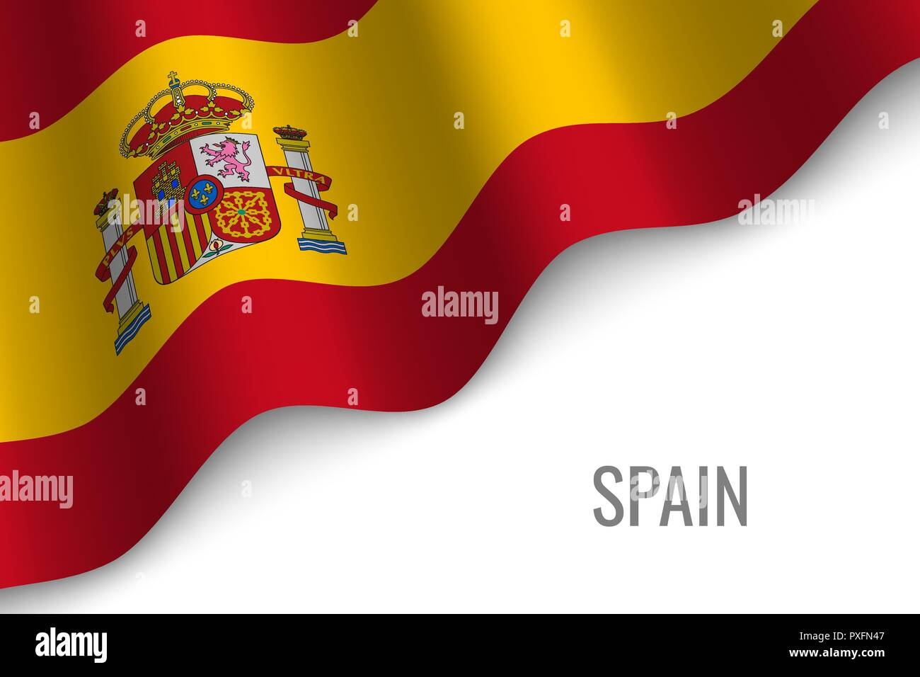 waving flag of Spain with copyspace. Template for brochure. vector illustration - Stock Vector