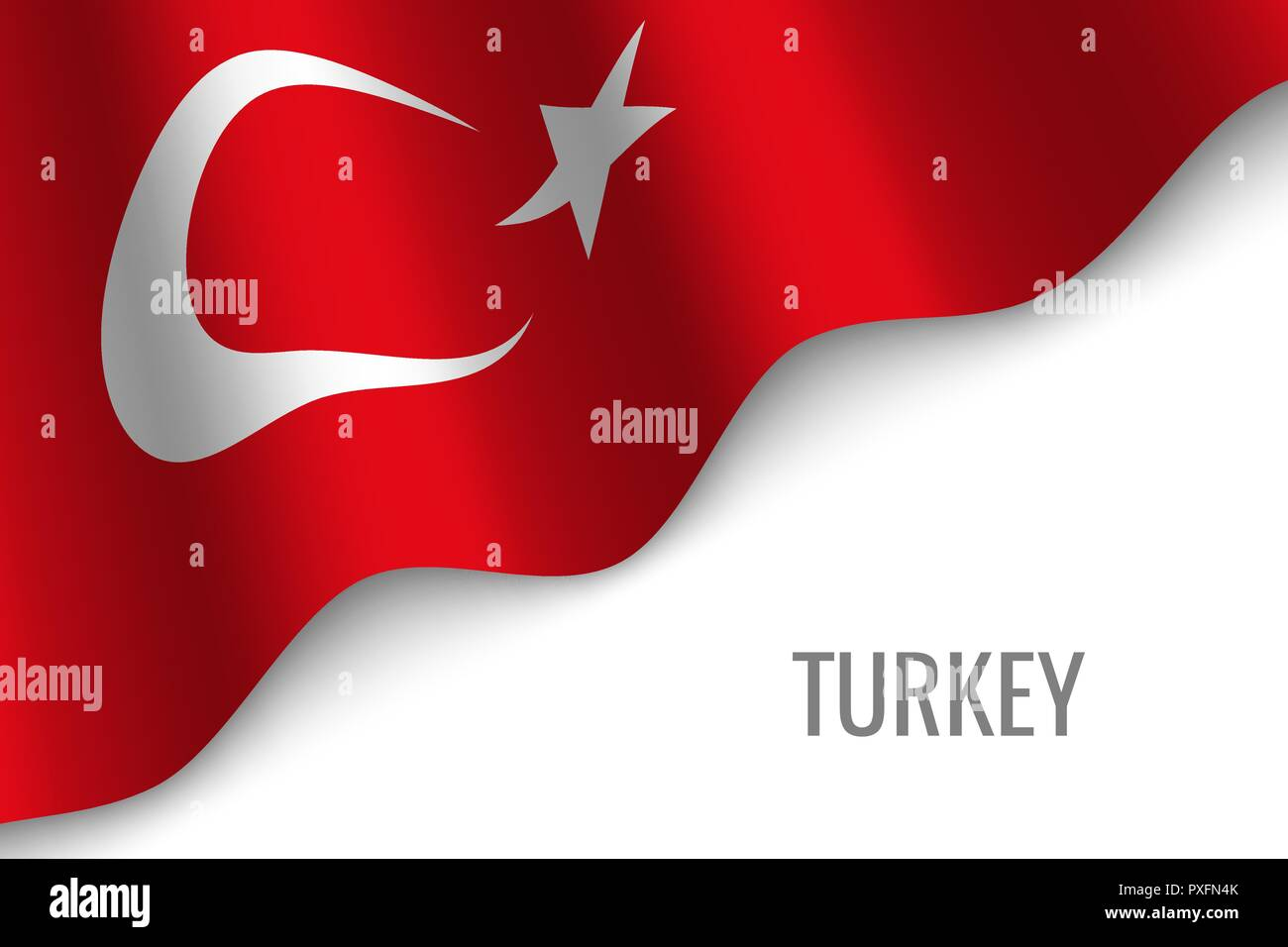 waving flag of Turkey with copyspace. Template for brochure. vector illustration - Stock Vector