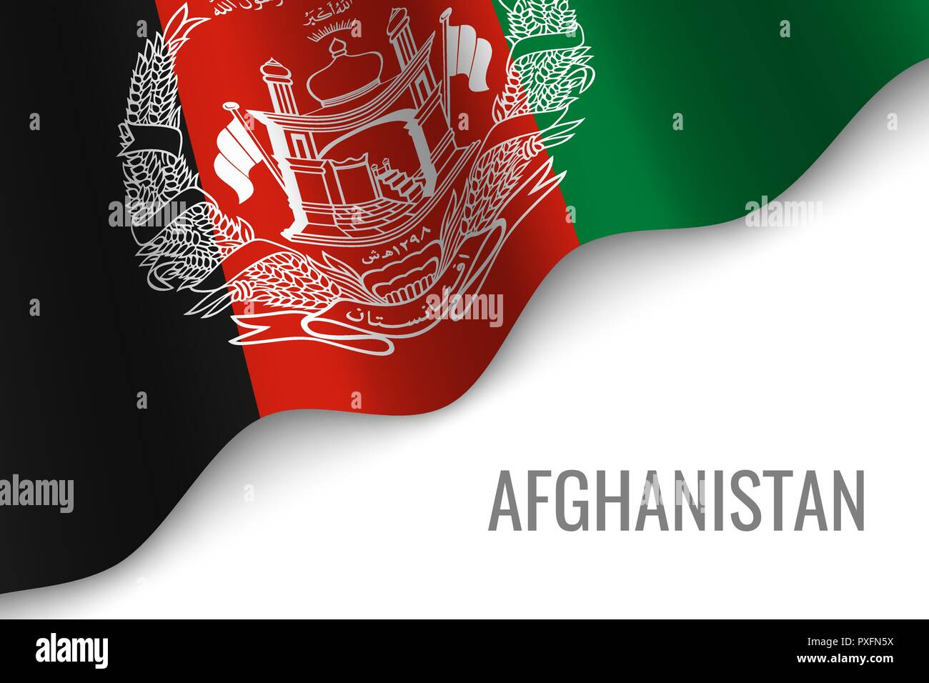 waving flag of Afghanistan with copyspace. Template for brochure. vector illustration - Stock Vector