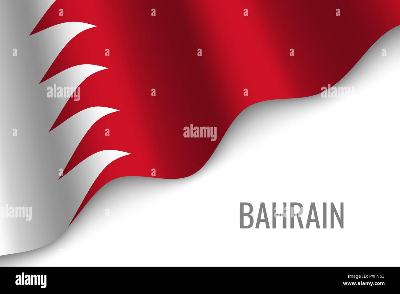waving flag of Bahrain with copyspace. Template for brochure. vector illustration - Stock Vector