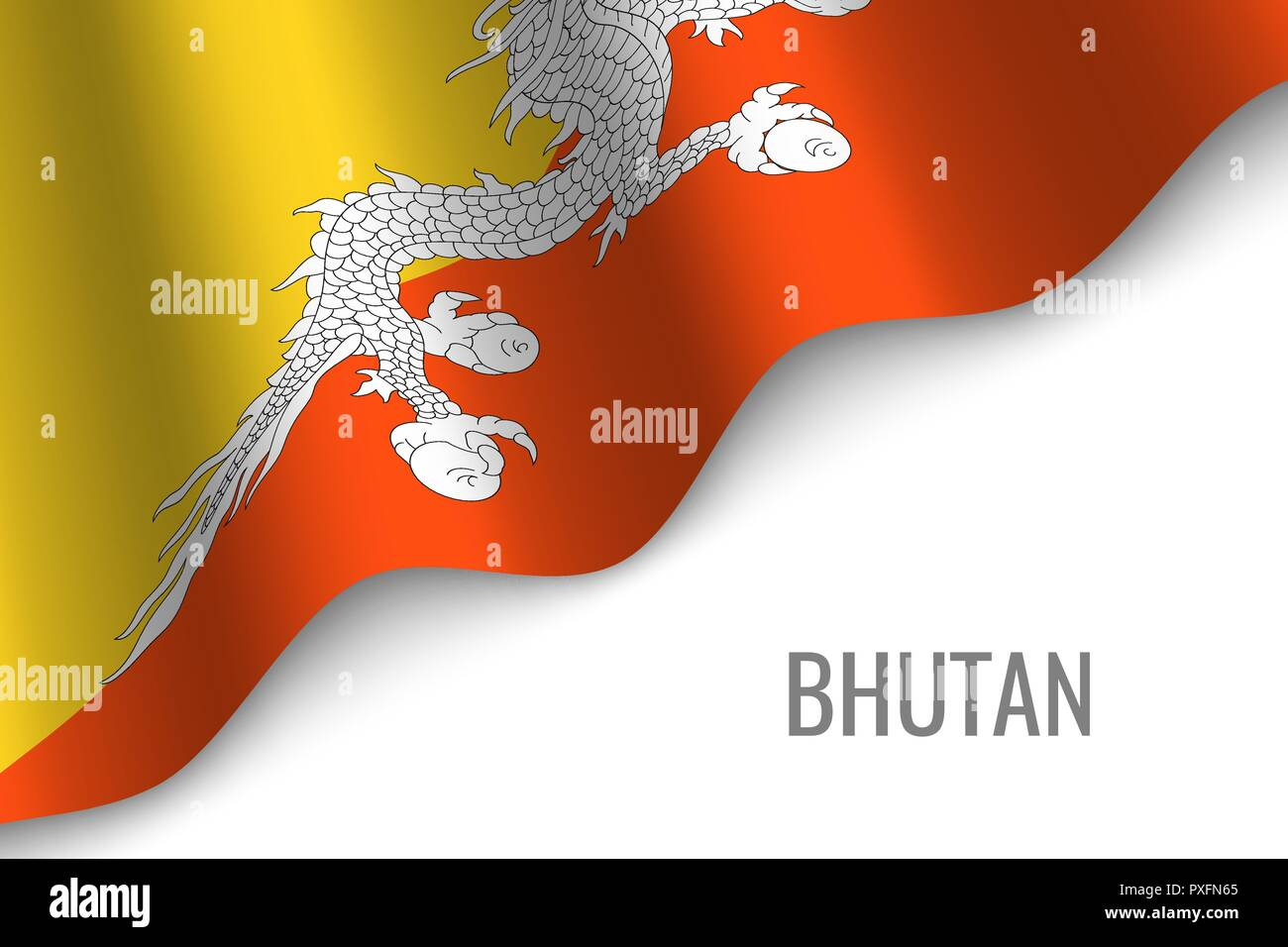 waving flag of Bhutan with copyspace. Template for brochure. vector illustration - Stock Vector
