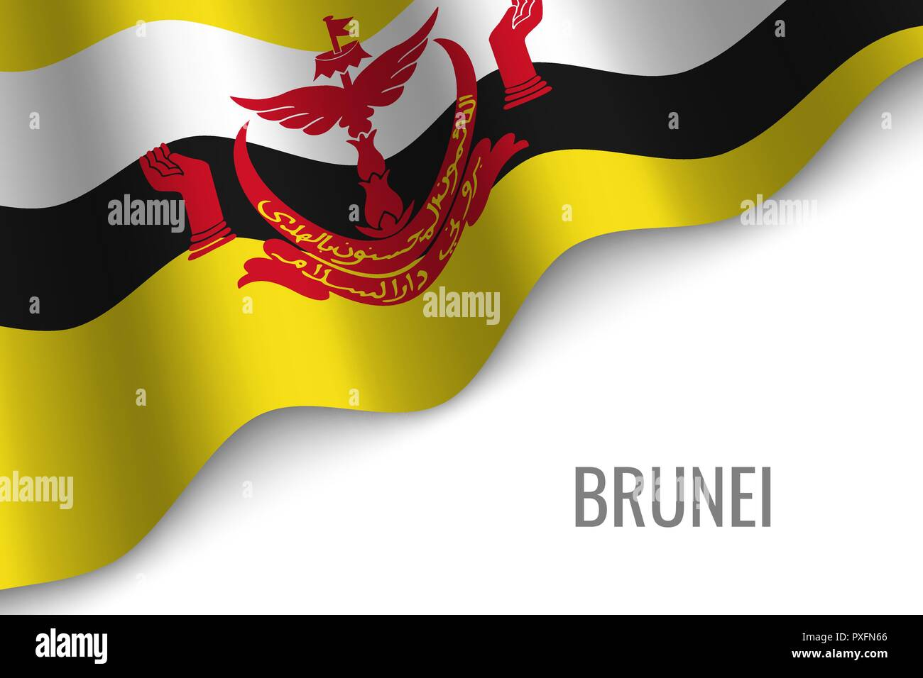 waving flag of Brunei with copyspace. Template for brochure. vector illustration - Stock Vector