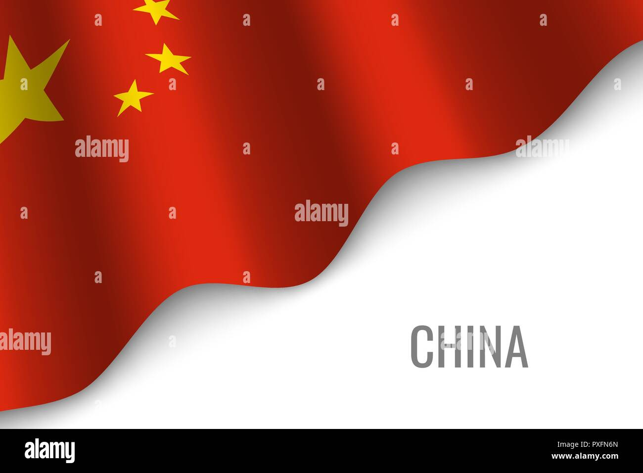 waving flag of China with copyspace. Template for brochure. vector illustration - Stock Vector