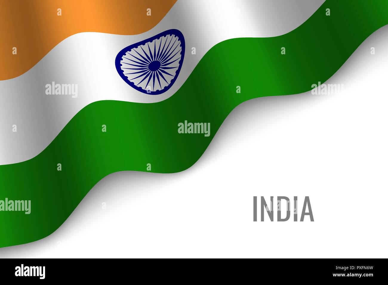 waving flag of India with copyspace. Template for brochure. vector illustration - Stock Vector