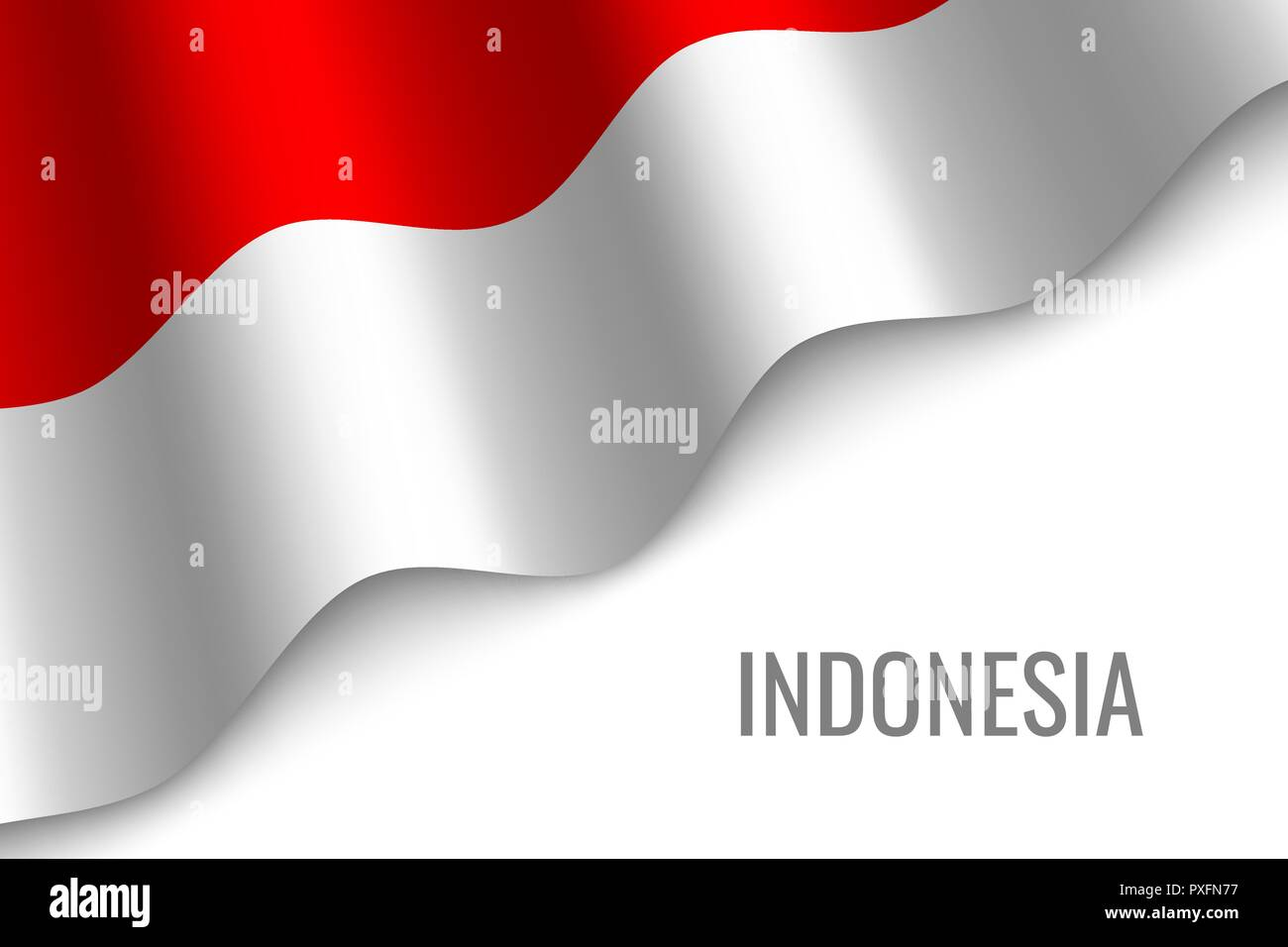 waving flag of Indonesia with copyspace. Template for brochure. vector illustration - Stock Vector