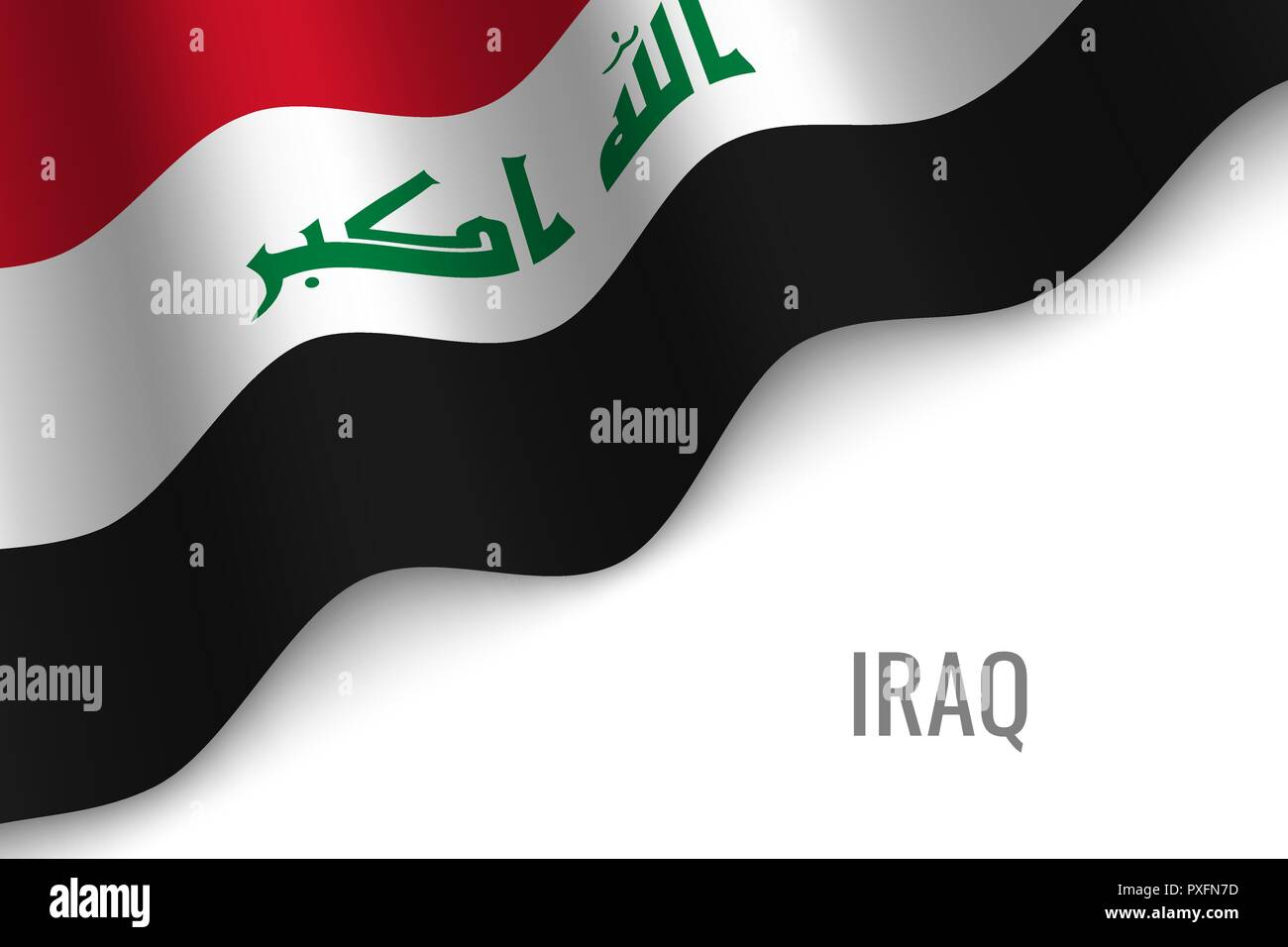 waving flag of Iraq with copyspace. Template for brochure. vector illustration - Stock Vector