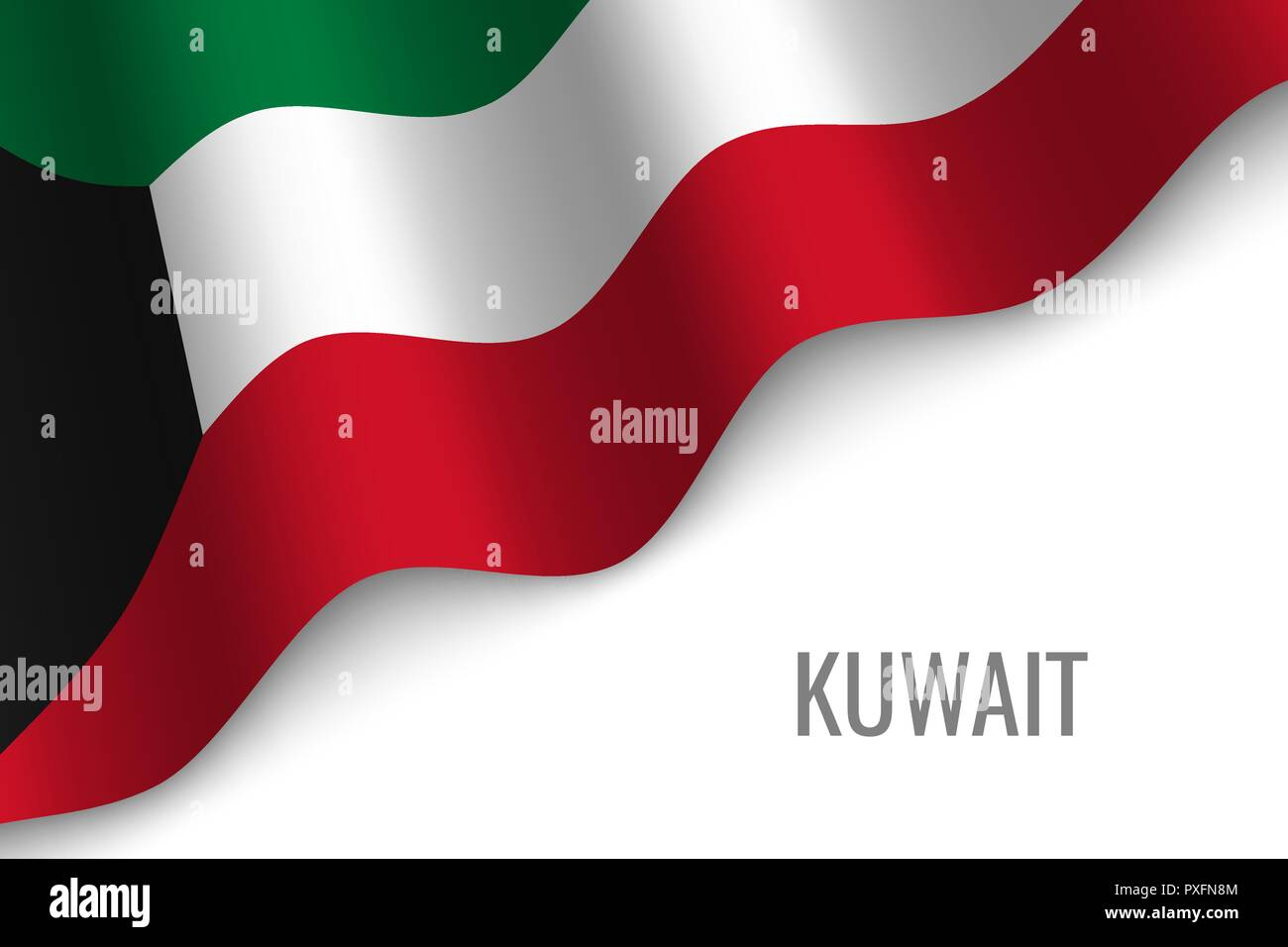 waving flag of Kuwait with copyspace. Template for brochure. vector illustration - Stock Vector