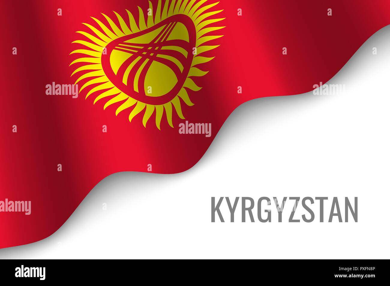 waving flag of Kyrgyzstan with copyspace. Template for brochure. vector illustration - Stock Vector