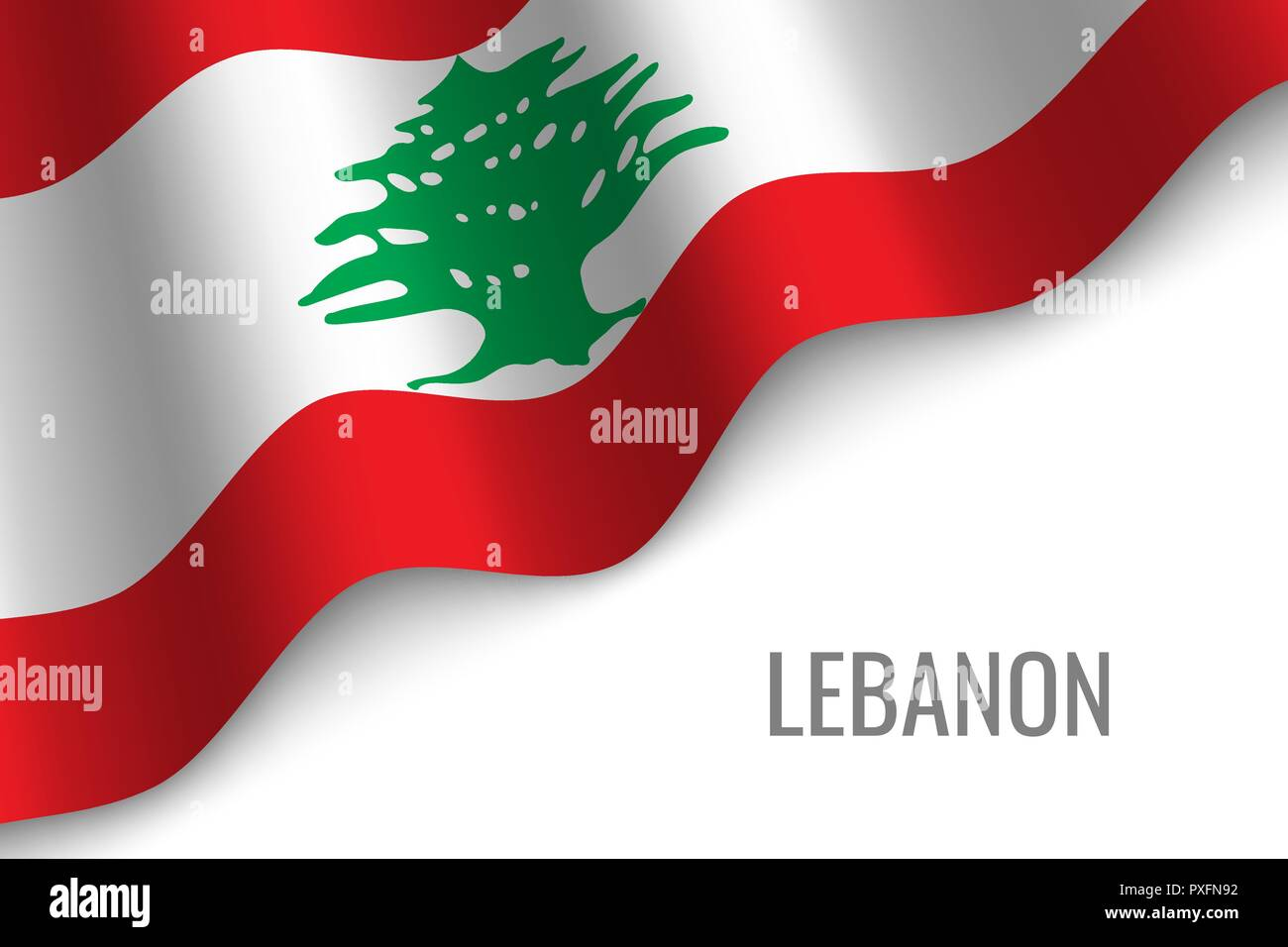 waving flag of Lebanon with copyspace. Template for brochure. vector illustration - Stock Vector