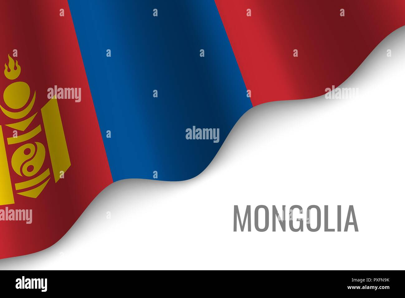 waving flag of Mongolia with copyspace. Template for brochure. vector illustration - Stock Vector